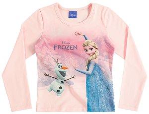 Camiseta Manga Longa Rosa Frozen