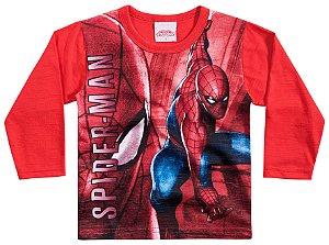 Camiseta Manga Longa Vermelha Homem Aranha