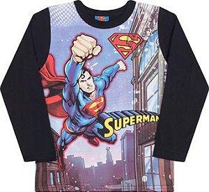 Camiseta Manga Longa com Máscara Superman