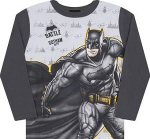 Camiseta Manga Longa com Máscara Batman