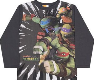 Camiseta Manga Longa Preta Tartaruga Ninja