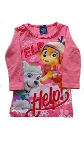 Camiseta Manga Longa Rosa Patrulha Canina