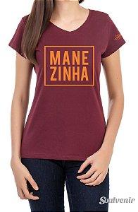 Camiseta Feminina Manezinha Bordô