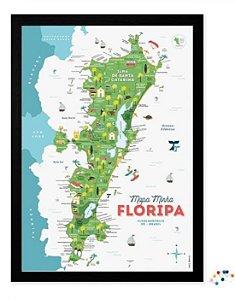 Mapa Minha Floripa Interativo 42x30 cm com Pins Interativos
