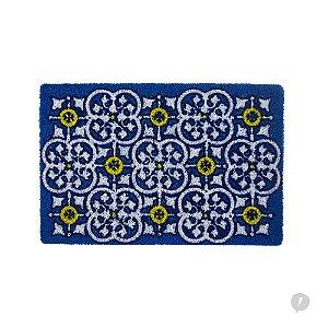 Capacho (Tapete) em Vinil Azulejo Português Azul e Amarelo