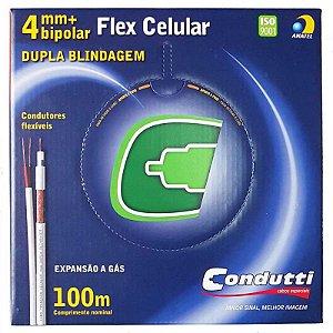 Cabo Coaxial Flexível 4mm 95% Malha Dupla Blindagem Bipolar Externo 100m