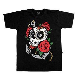 Camiseta Âncora Skull Roses