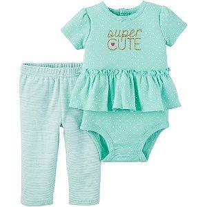 Conjunto com Body Curto e Calça Bebê Super Cute Verde Água Child of Mine Made by Carter's