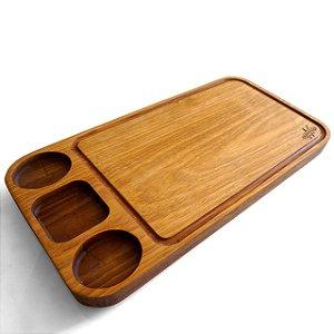 Tábua de carne em madeira, Tradicional 3 molhos 60x30