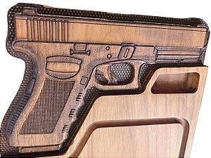 Tabua de carne em madeira, Pistola .40 60x30