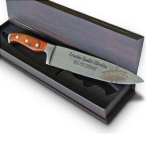 Faca cabo madeira churrasco profissional, nome e logo personalizado