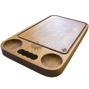 Tábua de carne em madeira, Tradicional 2 molhos com alça