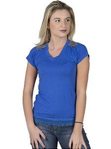 Blusa Azul com Bordado