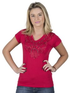 Blusa Vermelha com Bordado
