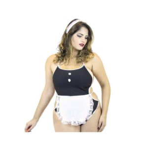 Kit Mini Fantasia Body Empregada Plus Size