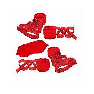 Kit Sensual Bondagem Pelúcia Vermelha