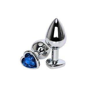 Plug em Metal com Pedra Coração Azul Tam P