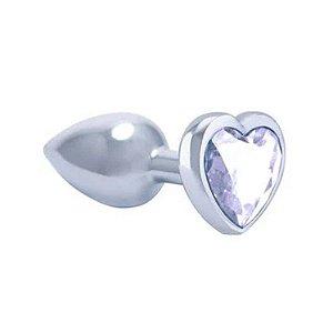 Plug em Metal com Pedra Coração Cristal Tam P