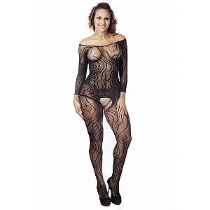 Macacão Arrastão Bodystocking Sexy Zafira (36 a 50)
