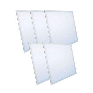 Kit 5 Luminária Plafon LED 32W 30x30 Quadrado De Embutir Branco Frio 6000k