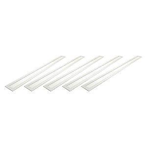 Kit 5 Luminária Plafon LED 30W 10x120 Retangular Embutir Branco Frio 6000k
