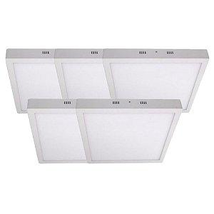 KIT 5 Luminária Plafon LED 36W 40x40 Quadrado De Sobrepor Branco Frio 6000k