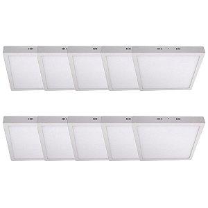 KIT 10 Luminária Plafon LED 48W 60x60 Quadrado Sobrepor Branco Frio 6000k