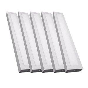 Kit 5 Luminária Plafon Led 36w 15x120 Quadrado de Sobrepor Branco Frio 6000k