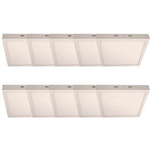 KIT 10 Luminária Plafon LED 48W 60x60 Quadrado Sobrepor Branco Quente 3000k