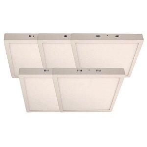 KIT 5 Luminária Plafon LED 48W 60x60 Quadrado Sobrepor Branco Quente 3000k