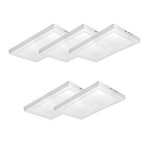 KIT 5 Luminária Plafon LED 36W 30x60 Quadrado De Sobrepor Branco Frio 6000k