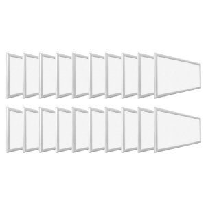 KIT 20 Luminária Plafon LED 36W 30x60 Retangular De Embutir Branco Quente 3000k