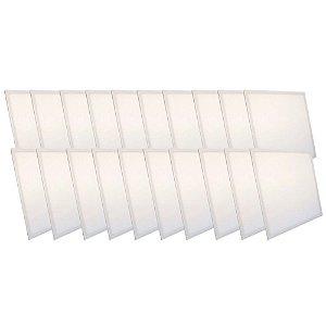 KIT 20 Luminária Plafon LED 48W 62x62 Quadrado Embutir Branco Quente 3000k