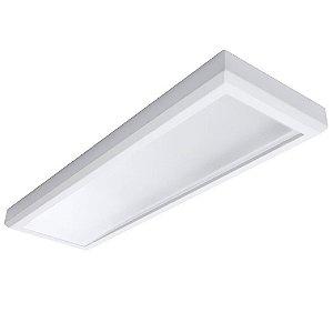 Luminária Plafon Led 48w 30x120 Retangular de Sobrepor Branco Quente 3000k