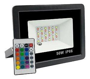 Refletor com Memoria Holofote LED 50W IP66 A prova D'Água  RGB Multicolorido