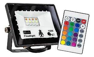 Refletor com Memoria Holofote LED 10W IP66 A prova D'Água RGB Multicolorido