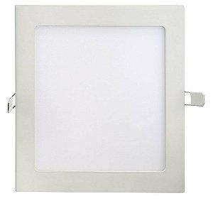 Luminária Plafon LED 18W 22x22 Quadrado De Embutir Branco Quente 3000k