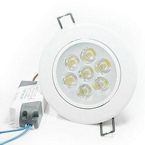 Spot 7W LED Dicróica Direcionavel Redondo Gesso Sanca De Embutir Branco Frio 6000k