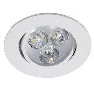 Spot 3W LED Dicróica Direcionavel Redondo Gesso Sanca De Embutir Branco Frio 6000k