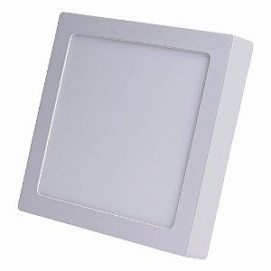 Kit 10 Luminárias Plafon LED 18W 22x22 Quadrado Sobrepor Branco Quente 3000k