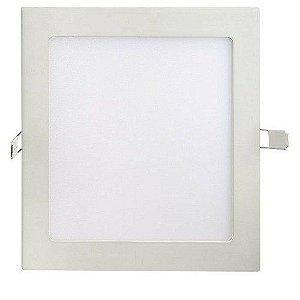 Kit 10 Luminárias Plafon LED 25W 30x30 Quadrado Embutir Branco Quente 3000k