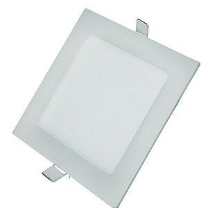 Luminária Plafon LED 25W 30x30 Quadrado De Embutir Branco Quente 3000k