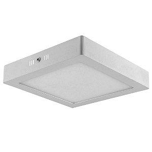 Kit 10 Luminárias Plafon LED 18W 22x22 Quadrado Sobrepor Branco Frio 6000k