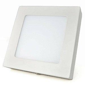 Luminária Plafon LED 12W 17x17 Quadrado Sobrepor Branco Frio 6000k