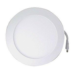 Luminária Plafon LED 18W 22x22 Redondo De Embutir Branco Quente 3000k