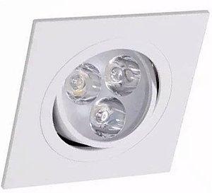 Spot 3W LED Dicróica Direcionavel Quadrado Gesso Sanca De Embutir Branco Frio 6000k