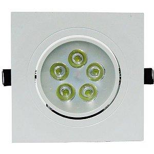 Spot 5W LED Dicróica Direcionavel Quadrado Gesso Sanca De Embutir Branco Frio 6000k