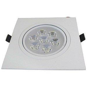 Spot 7W LED Dicróica Direcionavel Quadrado Gesso Sanca De Embutir Branco Frio 6000k