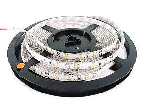 Fita LED 3528 Branco Frio 6000k Siliconada Prova D'água 5 Metros + Fonte