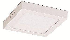 Luminária Plafon LED 12W 17x17 Quadrado De Sobrepor Branco Quente 3000k